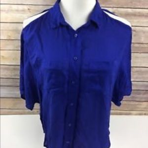 Blue cold shoulder button up